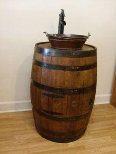Whiskey Barrel Sink- Darker Finish-Copper Vessel Bucket Sink-Bronze Pump Faucet #AuntMollysBarrels
