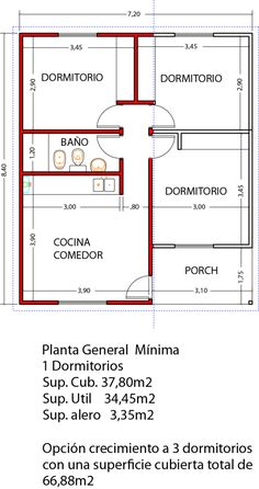 Vivienda 1D 32m22                                                                                                                                                                                 Más 2 Bedroom House Plans, Dream House Plans, Small House Plans, House Floor Plans, Small Cottage Homes, Architectural House Plans, Simple House Design, Apartment Plans, Room Planning