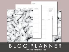 A5 MINIMAL Blog PlannerMarble Cover PDF by RazonDesigns on Etsy