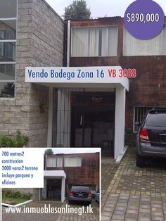 Vendo Bodega zona 16 Guatemala 700 m2 construccion 2000 v2 terreno  inc parqueo y oficinas $890000 anaurrutia@live.com www.inmueblesonlinegt.tk