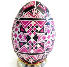 Ukrainian Egg, Pysanka, Goose egg in black and pink, stars, decoration, ornament