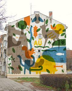 Blog — STRAUTNIEKAS illustration portfolio Murals Street Art, Street Art Graffiti, Instalation Art, Kids Room Murals, School Murals, Building Art, Mural Wall Art, Mundo Animal, Land Art