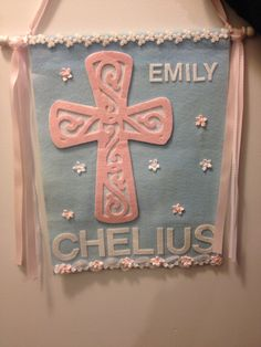 Communion Banner. Cross cut using Cricut Easter cartridge. Pink felt used, double cut, deep blade used. Still had to hand cut most of it. Felt so think it only scored the fabric.