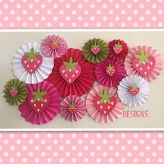 Strawberry Shortcake Paper Rosettes Set of 12 Pinwheels – Strawberry Birthday Party Backdrop - Pink Red Lime Green
