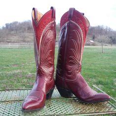 Tony Lama Burgundy and Red Vintage Cowboy Boots Size 8B by rockinrobbinranch, $250.00