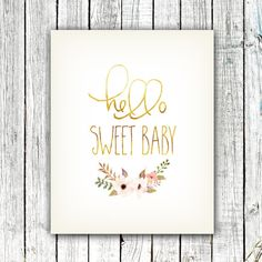 Nursery Art Printable, Gold, Floral, Boho, Hello, Nursery Art, Baby Shower, Digital Download Size 8x10 #362