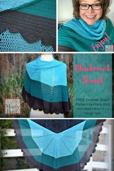 Free Crochet Pattern by Marly Bird™️ Grab a cake of the new It's A Wrap yarn and get the Bluebonnet Shawl on your hook! Great DIY fashion project for summer, free pattern by Marly Bird! #freepattern #shawl #crochet #cakeyarn #free