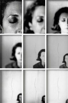 Helena Almeida, Sente-me, 1979, nesta obra vemos 9 planos onde a face da artista vai-se reduzindo em termos de tamanho e pormenores. Numa altura foi visível , noutra já e insignificante...