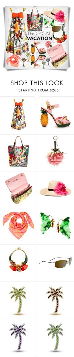 """Welcome to Paradise: Tropical Vacation"" by imbeauty ❤ liked on Polyvore featuring Oris, Jean-Paul Gaultier, Dolce&Gabbana, Marni, Fendi, Eugenia Kim, Liz Nehdi, Elizabeth Cole, Maui Jim and TropicalVacation"