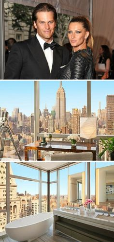 Tom Brady and Gisele's three-bedroom, 3.5-bathroom condo features a private elevator opening to a combination living-dining room surrounded by massive windows opening to the Empire State Building and the Hudson River. All the bedrooms have private baths, and the master bath includes a two-person soaking tub. The luxe building comes with 24-hour doormen and concierge service, private dining room with catering kitchen, and a fitness facility.