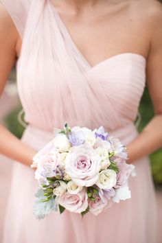Pink chiffon bridesmaid dress with spring inspired bridesmaid bouquet. @weddingchicks
