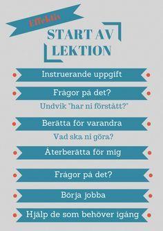 Att starta en lektion - Lektionsbanken.se - Lärare inspirerar lärare