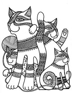 cat family colouring page
