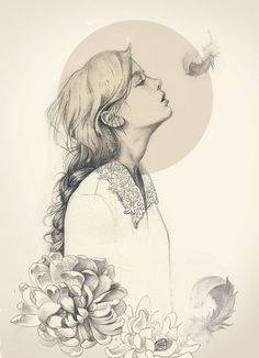 pencil sketch of a girl, flower, feather
