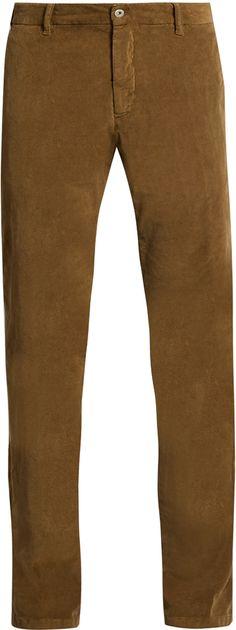 J.W. BRINE Owen slim-leg stretch-cotton corduroy trousers