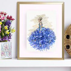 Fashion illustrations  Print Blue от ArtBoutiqueButterfly на Etsy