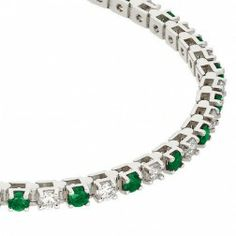 Emerald and Diamond Tennis Bracelet - 14kt White Gold from Ferbers Unique Fine Jewelry.
