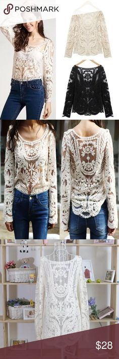 The Emma Stone crochet top Semi Sheer Sleeve Embroidery Floral Lace Crochet T-Shirt Top  Material: Cotton+Lace Style: SEMI SHEER ⭐️please order 2 sizes larger then what you usually take cut small Tops Blouses