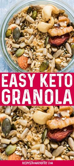 Delicious slow cooker keto granola made with mixed nuts, seeds, coconut, cardamom and nutmeg. It is gluten-free and refined sugar free. #keto #ketorecipes #ketodiet #ketogranola #lowcarb