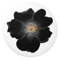 poignée de porte fleur noire