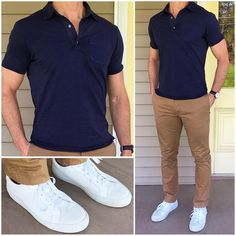 You can't ever go wrong with a classic polo, khaki chinos, and crisp white sneakers ❗️  ☀️ Do ...