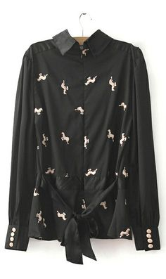 Embroidery horse waist lace shirt looks super-cute and flattering to all body shapes