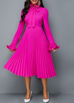 455703493d2 Tie Neck Long Sleeve Rose Red Pleated Dress
