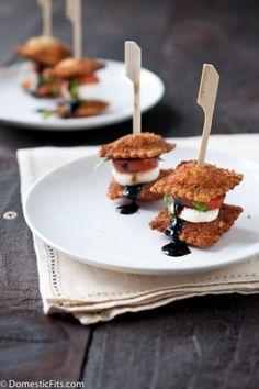 Fried Ravioli Caprese Stacks from domesticfits.com http://bit.ly/1g0YKVW #recipe #milk #cheese