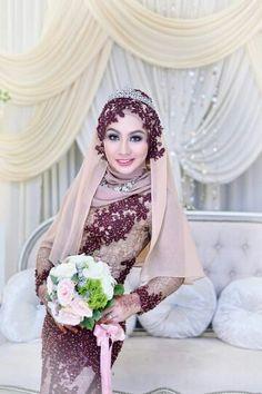 ♥ Muslim Fashion, Hijab Fashion, Fashion Dresses, Vestidos Maxi, Malay Wedding Dress, Hijab Style Dress, Wedding Hijab, Bridesmaid Dresses, Wedding Dresses