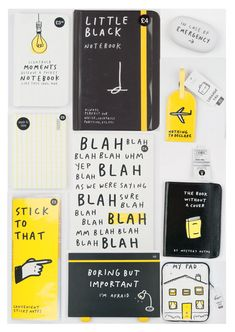 Don't let work get you down, add a bit of comedy to your daily routine with our practical, but ever so witty Smiles & Toast range of stationery. We love how the comical illustrations and not-so-subtle humour, complements the contrasting. Graphisches Design, Buch Design, Layout Design, Print Design, Logo Design, Design Ideas, Brand Packaging, Packaging Design, Branding Design