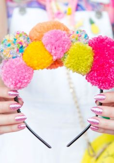 DIY Pom Pom Headband For Festival Season On Brit + Co