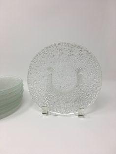 Set 8 Indiana Glass Crystal Ice Desert Plates Salad Plates Glass Dishes Clear & Set 6 Indiana Glass Crystal Ice Dinner Plates Set Glass Dishes ...