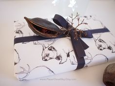 Wombat/deer - 1 sheet of Wrapping Paper. Reproduction of hand painted, ink illustration. Wombat, Ink Illustrations, Sunglasses Case, Deer, Wraps, Hand Painted, Unique Jewelry, Handmade Gifts, Wrapping