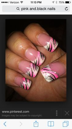 Try some of these designs and give your nails a quick makeover, gallery of unique nail art designs for any season. The best images and creative ideas for your nails. Nail Tip Designs, Fingernail Designs, Black Nail Designs, Art Designs, Fancy Nails, Trendy Nails, Hot Nails, Hair And Nails, Pink Black Nails