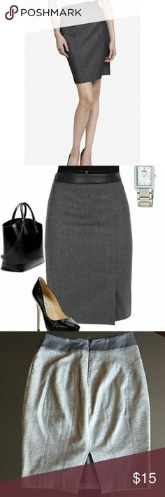 Express mid-high waisted Gray Pencil Skirt Gray Pencil Skirt (above the knee) with a leather waist. Worn once. Great condition! The lighting in the pictures shows it lighter then the stock/pinterest photos, but it's exactly the same skirt. Express Skirts Pencil