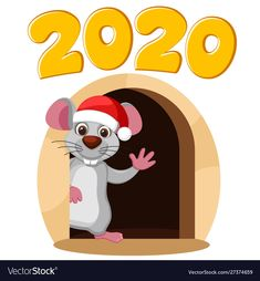 Mouse in a christmas hat looks out from a mink and vector image on VectorStock Happy New Month Quotes, Happy New Year Gif, Happy New Year Images, Merry Christmas And Happy New Year, New Year Wishes, New Year Card, Christmas Hat, Christmas Colors, New Year Illustration