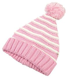 e7a1734af8c Tinksky Classic Warm Adorable Kids Striped Knit Winter Pom Pom Hat Beanie  Hats for Christmas - S (Pink White)