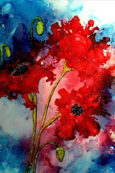 Alcohol ink art.  Poppies