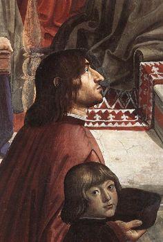 Доменико Гирландайо, Анджело Полициано с сыном Лоренцо Медичи Джулиано. Капелла Сассетти. Санта Тринита. Флоренция