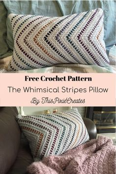 The Whimsical Stripes Pillow: Free Crochet Pattern - This pillow is a great way to use up some of your yarn stash. It calls for 2 skeins of any medium 4 - Crochet Home Decor, Crochet Crafts, Crochet Projects, Free Crochet, Knit Crochet, Crochet Granny, Scrap Crochet, Granny Granny, Afghan Crochet