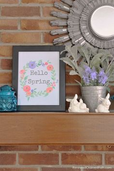 Rustic Farmhouse Spring Decor with Painted Bunnies and Free Printable