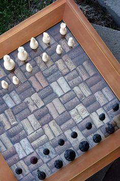 DIY wine cork shadowbox chess set.