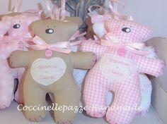 COCCINELLEPAZZE Handmade: Per le gemelline Bianca e Clara le bomboniere con il cuoricino personalizzato!!
