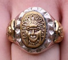 i like silver and gold together Indian Skull, Inca, Indian Jewelry, Class Ring, Jewels, Silver, Ebay, Bijoux, Money