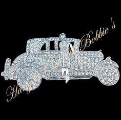 Limousine Chauffeur Car Pin Brooch Clear Crystal Silvertone Fashion Jewelry