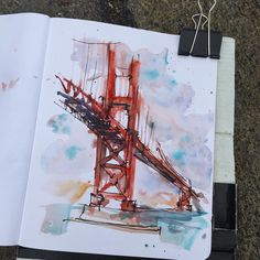 Loose sketch of #goldengatebridge sitting next to Rob Sketcherman. Check out my story for more. #lizsteeltravels #urbansketchers