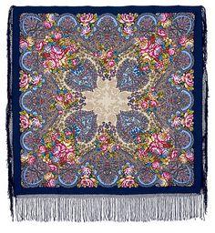 Старый замок 947-14, павлопосадский платок (шаль) из уплотненной шерсти с шелковой вязанной бахромой 148x148см. ...  2000,00 грн.