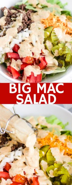Big Mac Salad (Low Carb) All of the classic Big Mac ingredients and flavors fill this delicious salad, but with no bun, there's no guilt! This low carb Big Mac Salad will become a dinner staple! Hamburger Salad Recipe, Low Carb Hamburger Recipes, Chicken Salad Recipes, Big Mac Ingredients, Keto Fastfood, Big Mac Sauce Recipe, Salsa Recipe, Big Mac Salat, Homemade Big Mac