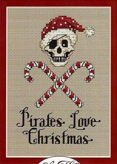 Candy Cane Pirate Post Stitches cross stitch chart Sue Hillis Designs $5.40  #pirate