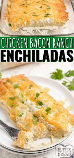 Chicken Bacon Ranch Enchiladas made with chicken, bacon, ranch dressing and cheese. Simple chicken enchilada recipe with a little bit of a twist! Easy dinner recipe that comes together quickly with tons of flavor that even the pickiest eater will love. Easy Chicken Dinner Recipes, Entree Recipes, Top Recipes, Turkey Recipes, Appetizer Recipes, Yummy Recipes, Ranch Chicken Enchiladas, Chicken Bacon Ranch Casserole, Easy Family Meals
